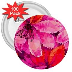 Geometric Magenta Garden 3  Buttons (100 pack)