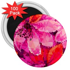 Geometric Magenta Garden 3  Magnets (100 Pack)