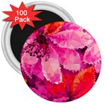 Geometric Magenta Garden 3  Magnets (100 pack) Front