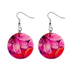 Geometric Magenta Garden Mini Button Earrings Front