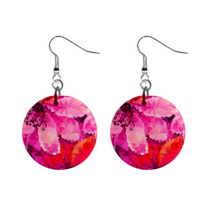 Geometric Magenta Garden Mini Button Earrings