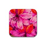 Geometric Magenta Garden Rubber Square Coaster (4 pack)  Front