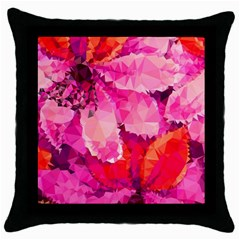 Geometric Magenta Garden Throw Pillow Case (black)