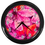 Geometric Magenta Garden Wall Clocks (Black) Front