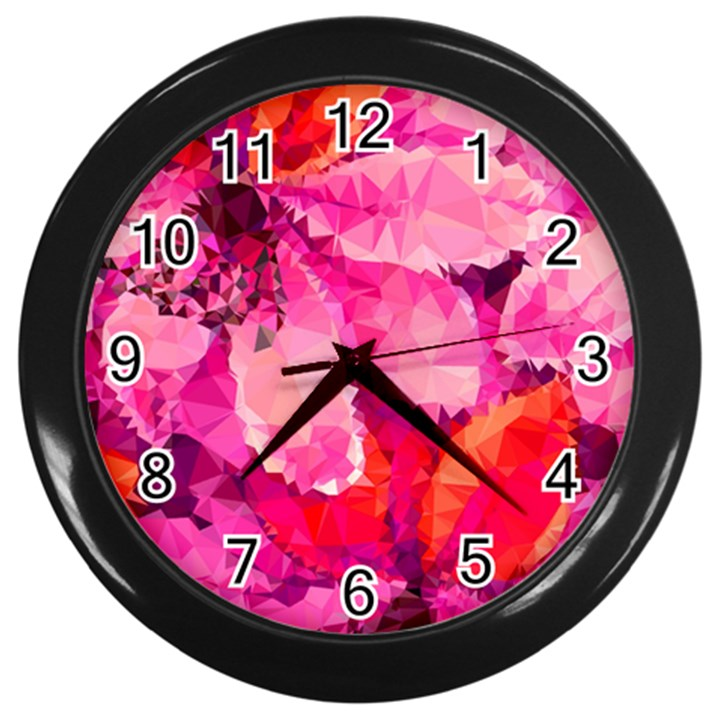 Geometric Magenta Garden Wall Clocks (Black)
