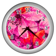 Geometric Magenta Garden Wall Clocks (Silver)