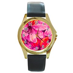 Geometric Magenta Garden Round Gold Metal Watch