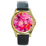 Geometric Magenta Garden Round Gold Metal Watch Front