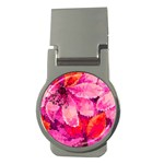 Geometric Magenta Garden Money Clips (Round)  Front