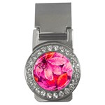 Geometric Magenta Garden Money Clips (CZ)  Front