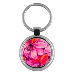 Geometric Magenta Garden Key Chains (Round)
