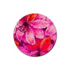Geometric Magenta Garden Rubber Coaster (round)