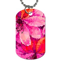Geometric Magenta Garden Dog Tag (two Sides)