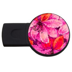 Geometric Magenta Garden USB Flash Drive Round (1 GB)