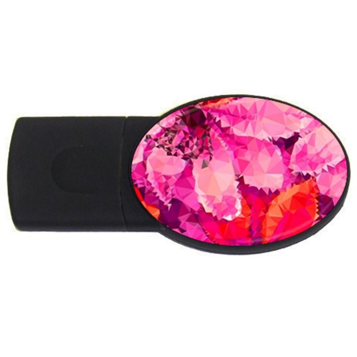 Geometric Magenta Garden USB Flash Drive Oval (1 GB)