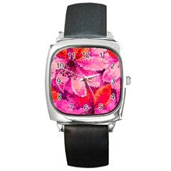 Geometric Magenta Garden Square Metal Watch
