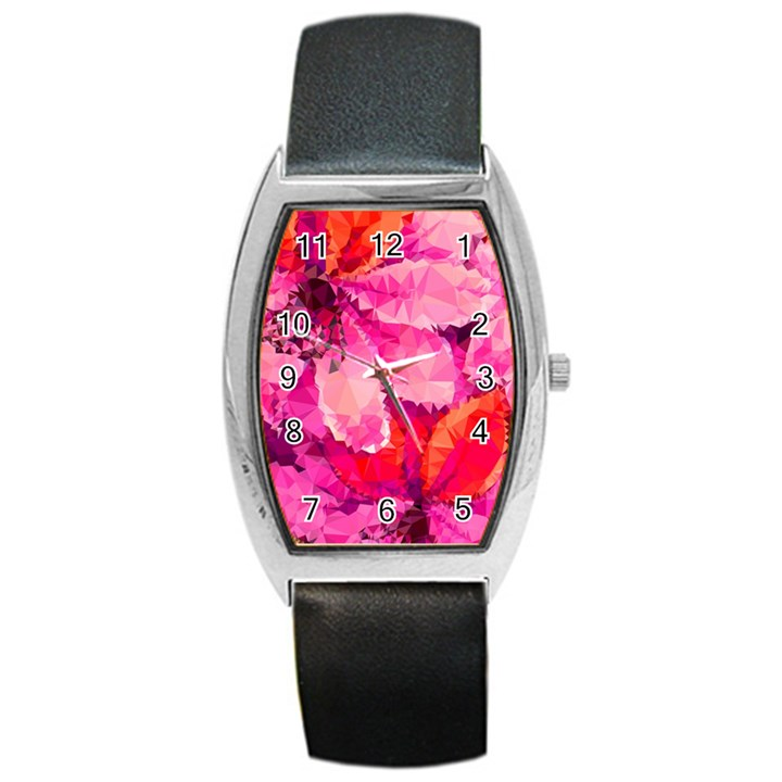 Geometric Magenta Garden Barrel Style Metal Watch