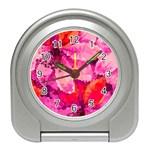 Geometric Magenta Garden Travel Alarm Clocks Front