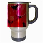 Geometric Magenta Garden Travel Mug (Silver Gray) Right