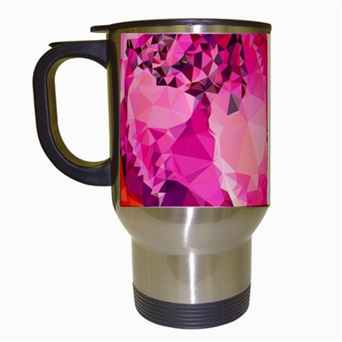 Geometric Magenta Garden Travel Mugs (White)