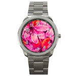 Geometric Magenta Garden Sport Metal Watch Front