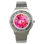 Geometric Magenta Garden Stainless Steel Watch Front