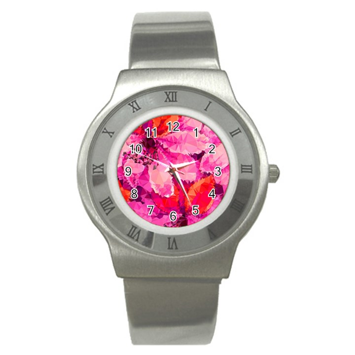 Geometric Magenta Garden Stainless Steel Watch