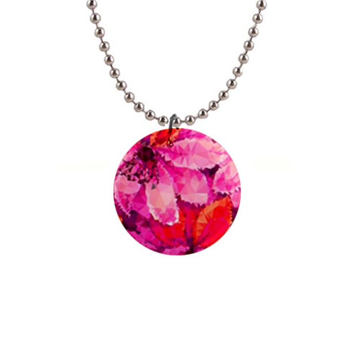Geometric Magenta Garden Button Necklaces