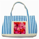 Geometric Magenta Garden Striped Blue Tote Bag Front