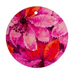 Geometric Magenta Garden Round Ornament (Two Sides)  Front