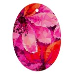 Geometric Magenta Garden Oval Ornament (Two Sides) Front