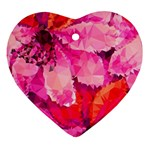 Geometric Magenta Garden Heart Ornament (2 Sides) Back