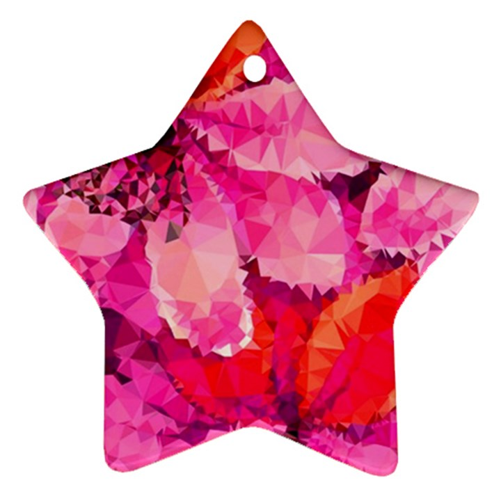 Geometric Magenta Garden Star Ornament (Two Sides)