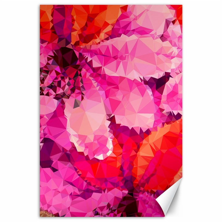 Geometric Magenta Garden Canvas 24  x 36