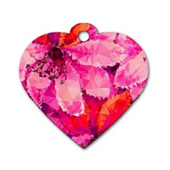 Geometric Magenta Garden Dog Tag Heart (two Sides)