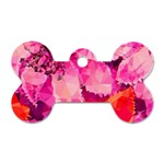 Geometric Magenta Garden Dog Tag Bone (One Side) Front