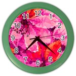 Geometric Magenta Garden Color Wall Clocks Front