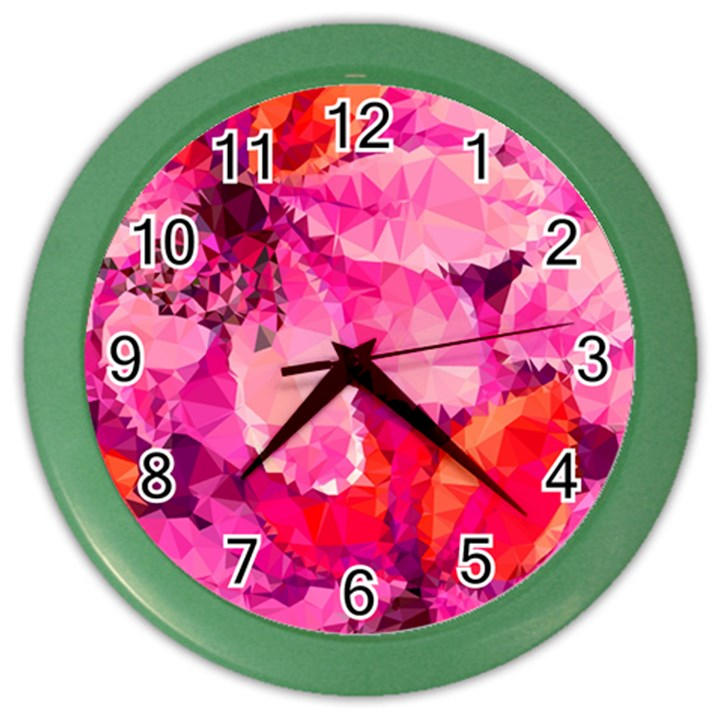 Geometric Magenta Garden Color Wall Clocks