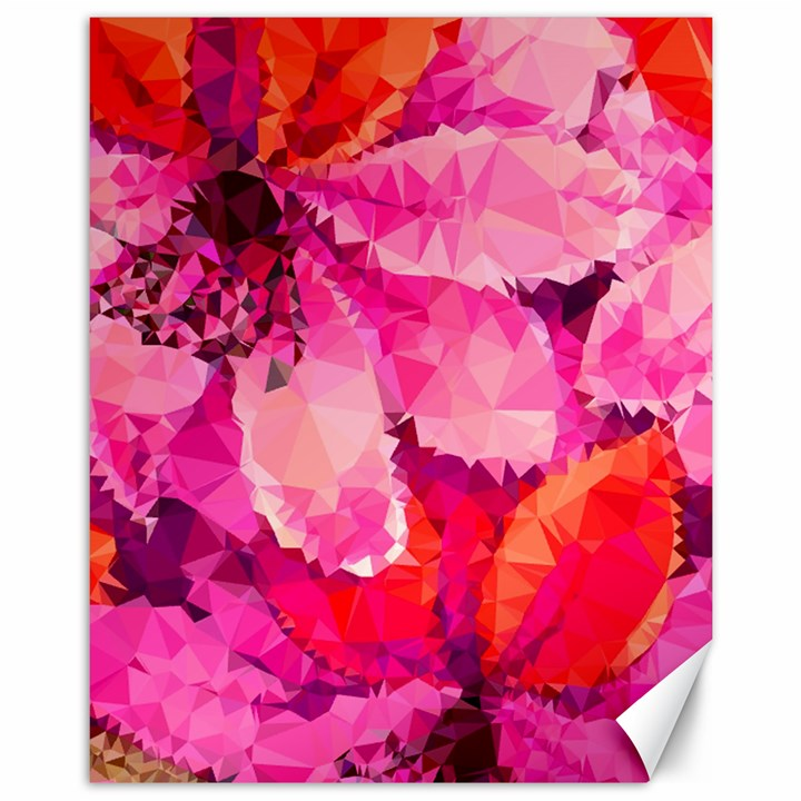 Geometric Magenta Garden Canvas 11  x 14