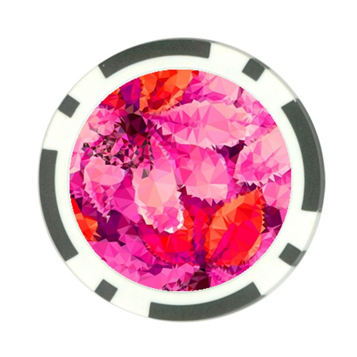 Geometric Magenta Garden Poker Chip Card Guards