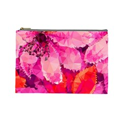 Geometric Magenta Garden Cosmetic Bag (large)