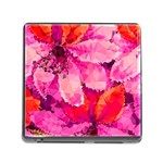 Geometric Magenta Garden Memory Card Reader (Square) Front