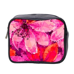 Geometric Magenta Garden Mini Toiletries Bag 2 Side