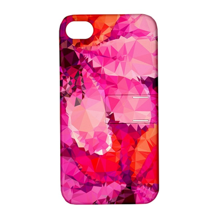 Geometric Magenta Garden Apple iPhone 4/4S Hardshell Case with Stand