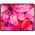 Geometric Magenta Garden Double Sided Fleece Blanket (Medium)  60 x50 Blanket Back