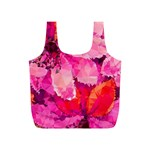 Geometric Magenta Garden Full Print Recycle Bags (S)  Back