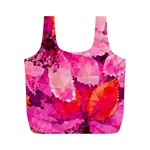 Geometric Magenta Garden Full Print Recycle Bags (M)  Back