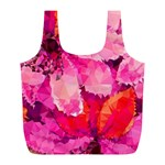 Geometric Magenta Garden Full Print Recycle Bags (L)  Front