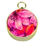 Geometric Magenta Garden Gold Compasses Front