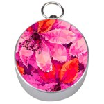 Geometric Magenta Garden Silver Compasses Front